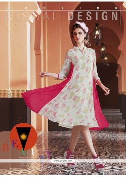 Magnetic Print Work Georgette Off White Party Wear Kurti