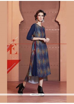 Aristocratic Faux Crepe Multi Colour Print Work Party Wear Kurti