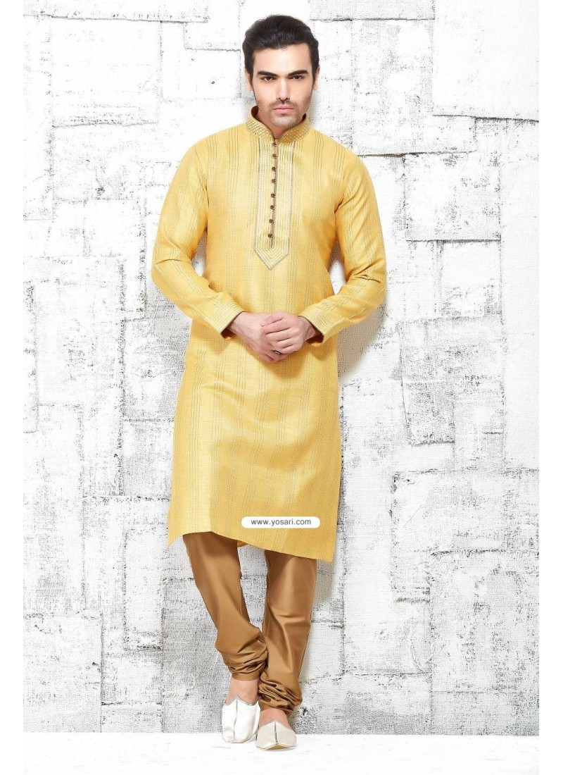 Yellow Ethnic Indian Party Wear Kurta Pajama In Khadi Silk
