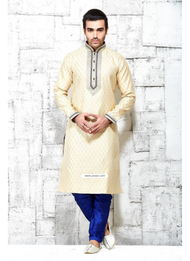 Cream Indian Punjabi Silk Kurta Pajama For Diwali