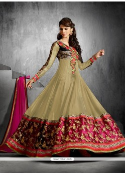 Beige Faux Georgette Anarkali Suit