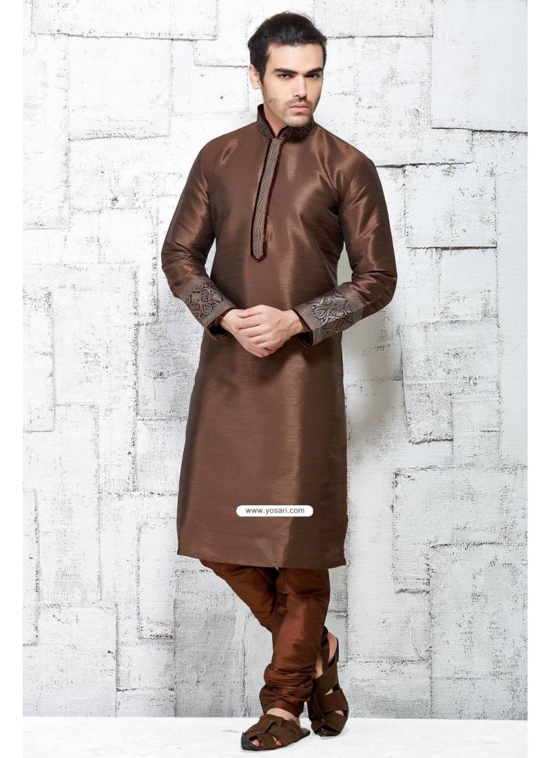 Brown Latest Indian Fashion Silk Kurta Pajama For Feativals