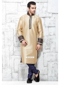 Beige Polyester Silk Indian Punjabi Kurta Pajama