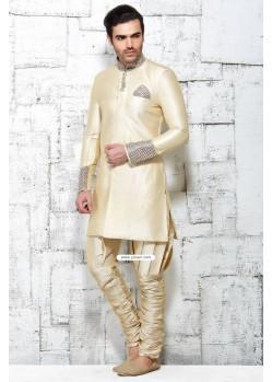 Cream Designer Indian Wedding Wear Kurta Pajama In Jute Silk