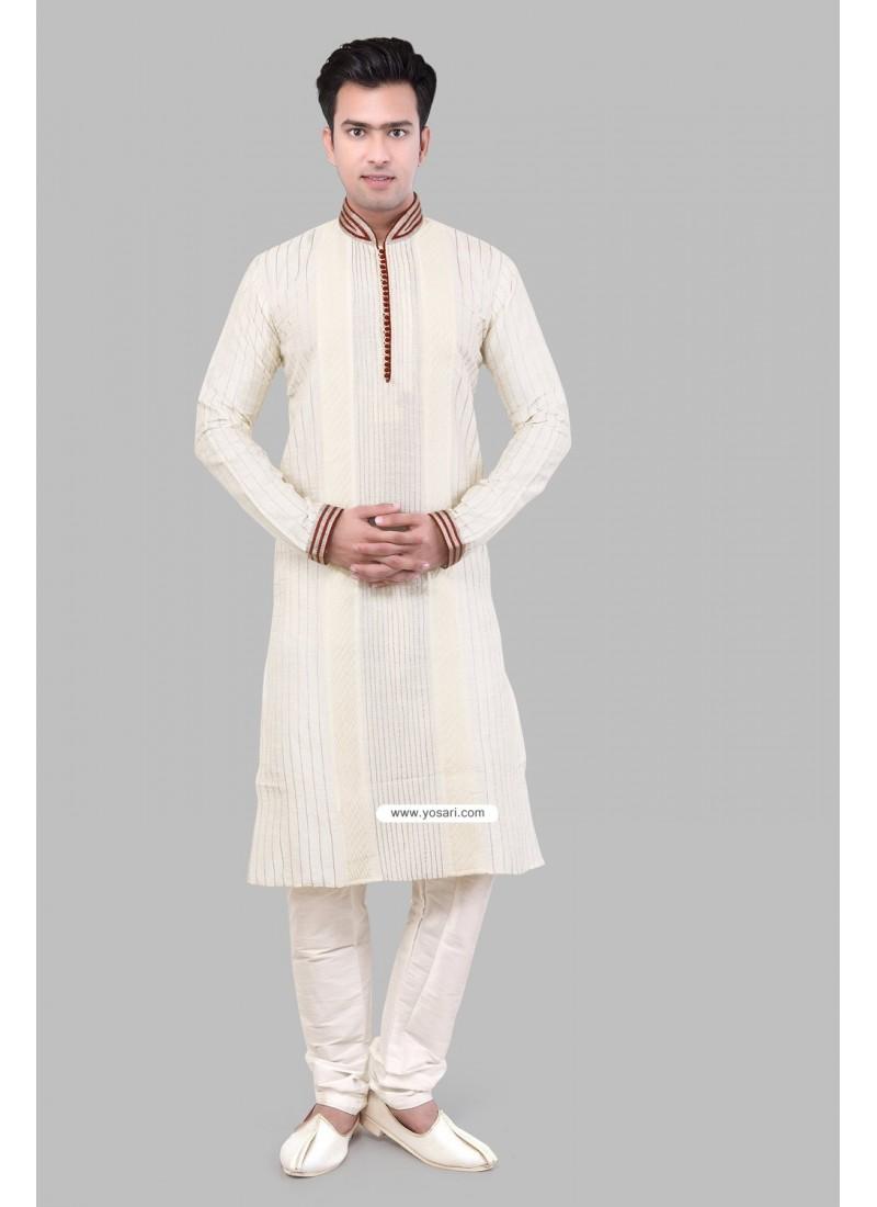 Off White Ethnic Indian Ready-made Silk Kurta Pajama