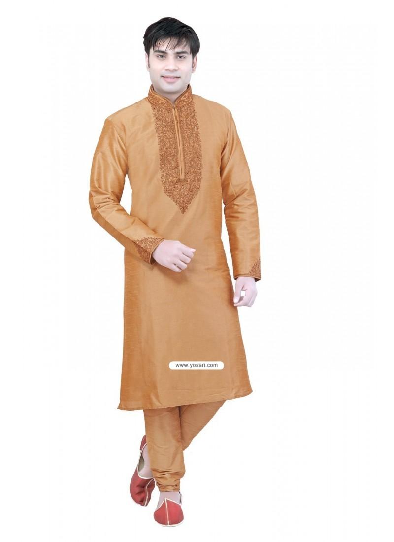 Orange Mens Designer Kurta Pajama In Raw Silk