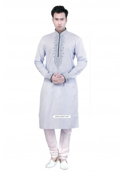 Grey Cotton Kurta Pajama For Party Wear