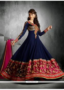 Dazzling Blue Embroidery Anarkali Salwar Suit