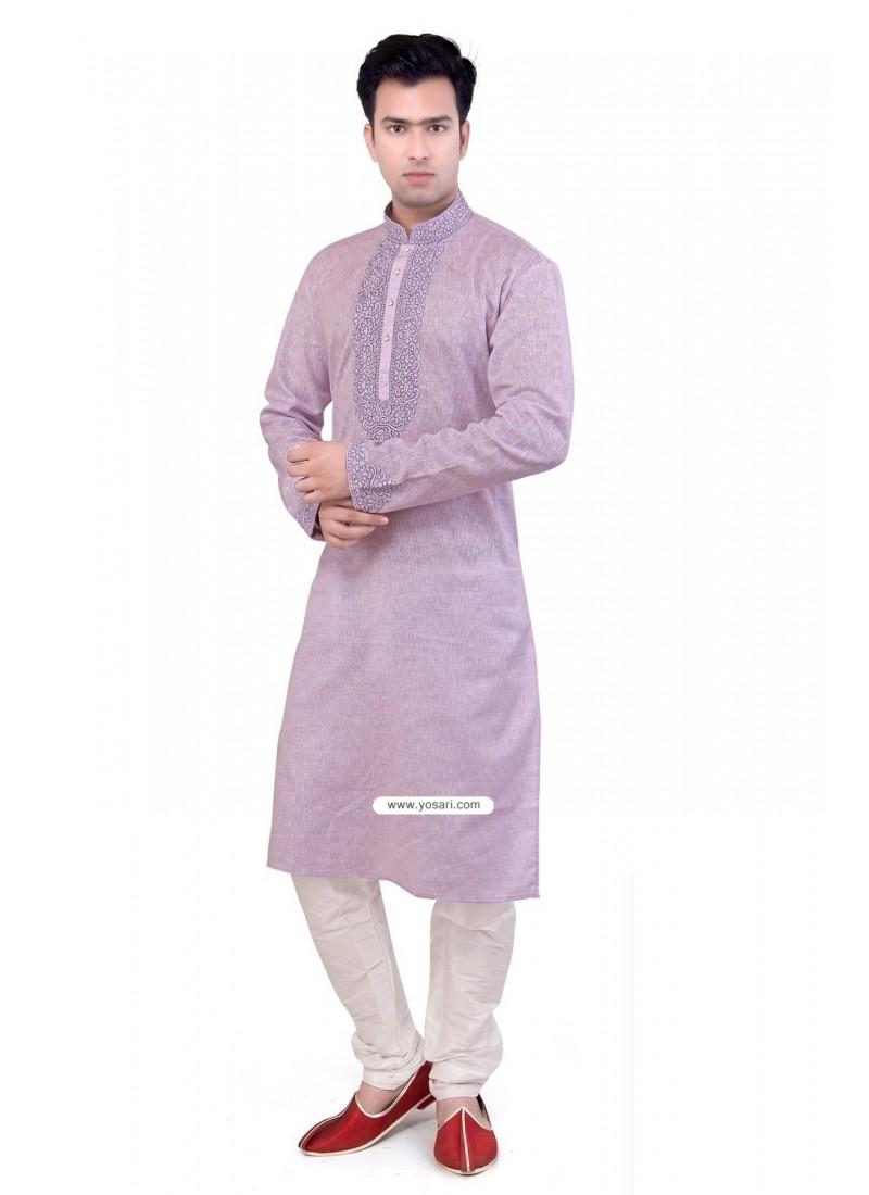 Ready-made Lavender Cotton Kurta Paijama