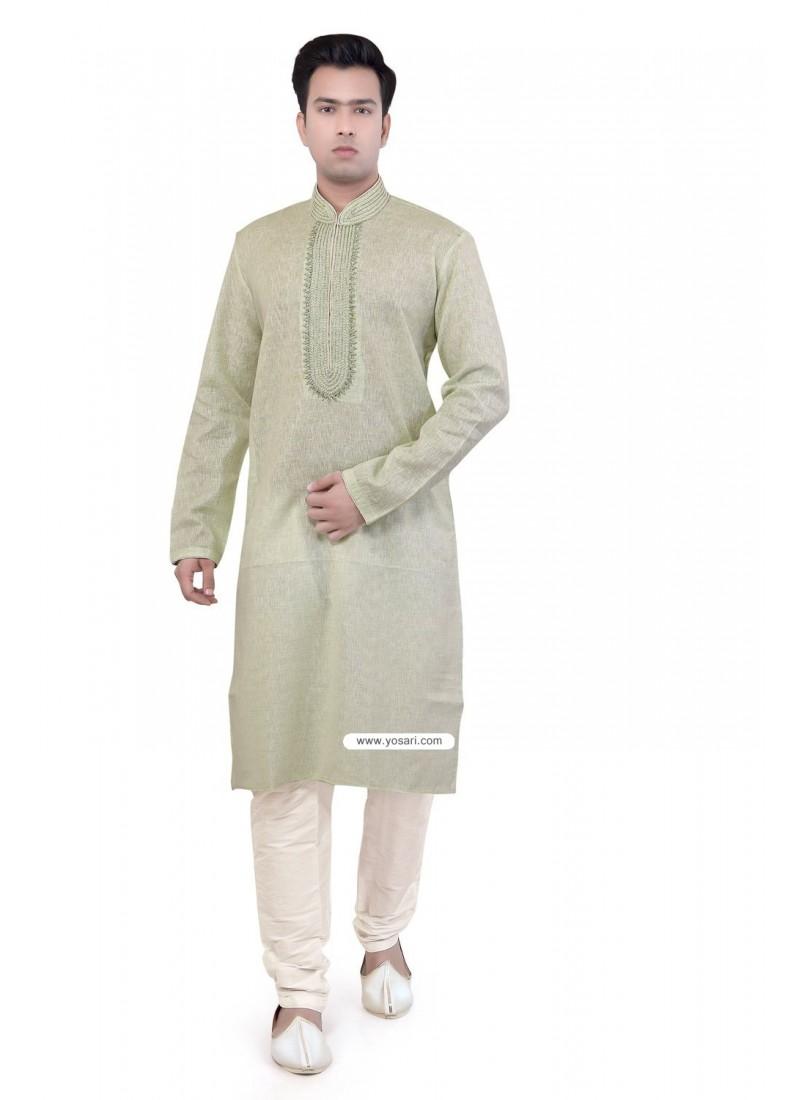 Green Indian Fashion Kurta Pajama In Cotton