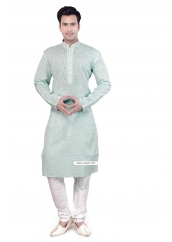 Light Green Ethnic Wear Kurta Pajama In Cotton