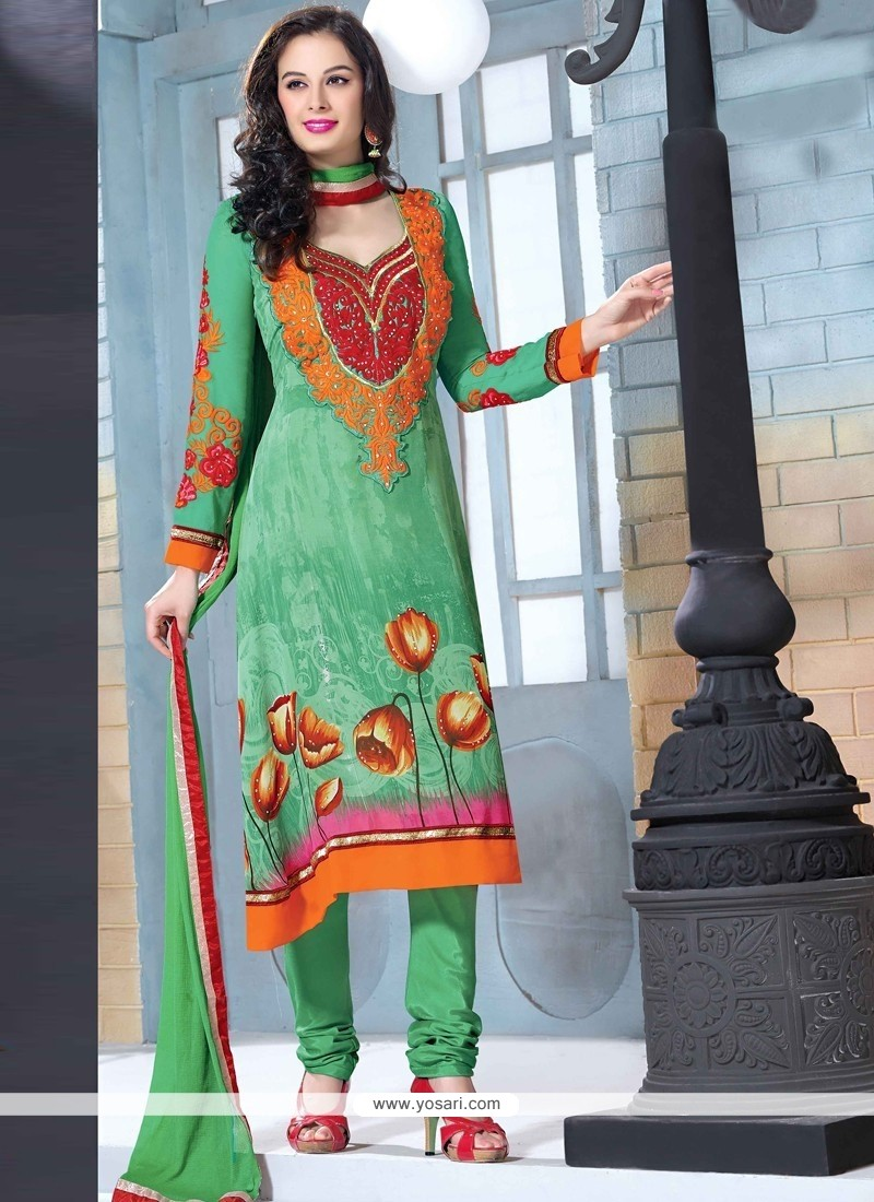 Alluring Green Georgette Churidar Suit