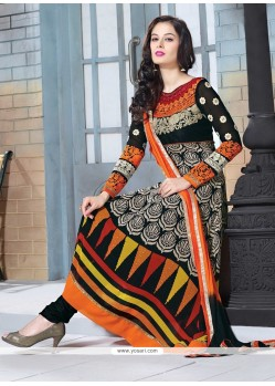 Glorious Black Embroidery Churidar Suit