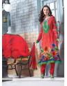 Splendid Red Georgette Churidar Suit
