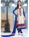Amazing Blue And Cream Georgette Salwar Suit