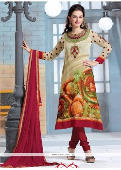 Dazzling Cream Georgette Churidar Salwar Suit