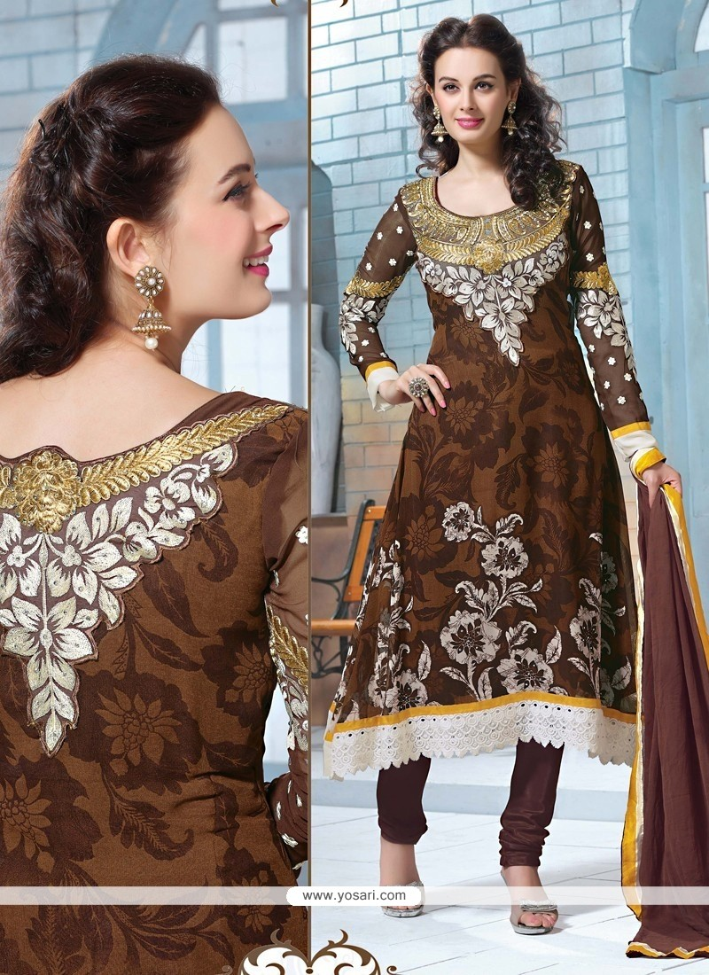 Latest Brown Georgette Churidar Suit