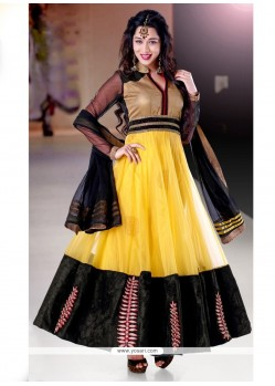 Magnetic Yellow And Black Net Anarkali Suit
