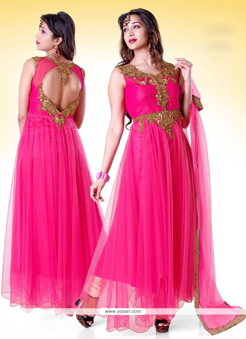 Magnificent Pink Net Anarkali Suit