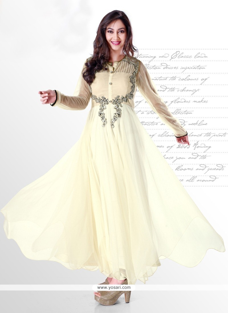 Fab Off White Net Anarkali Salwar Suit