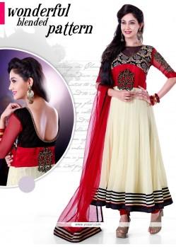 Cream Georgette Anarkali Salwar Suit