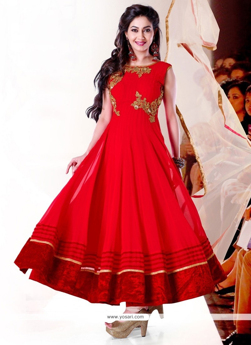 Marvelous Red Georgette Anarkali Salwar Suit