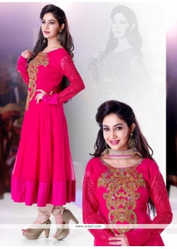 Perfect Pink Georgette Anarkali Suit