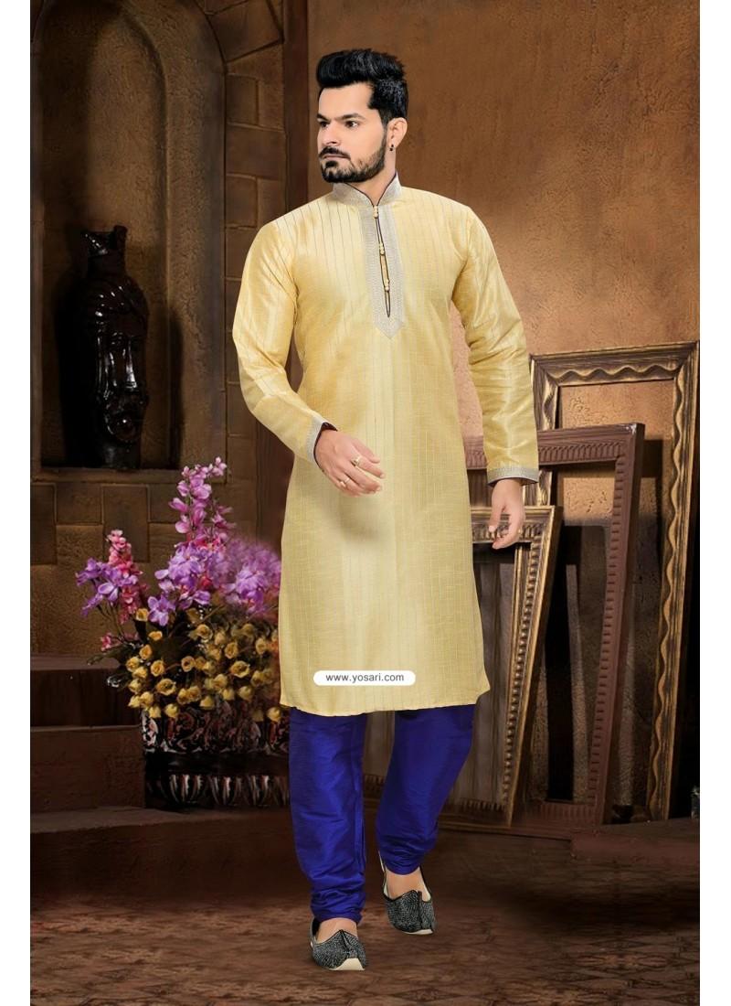 7667bd48b1 Buy Yellow Art Silk Indian Wedding Kurta Pajama   Kurta Pajama