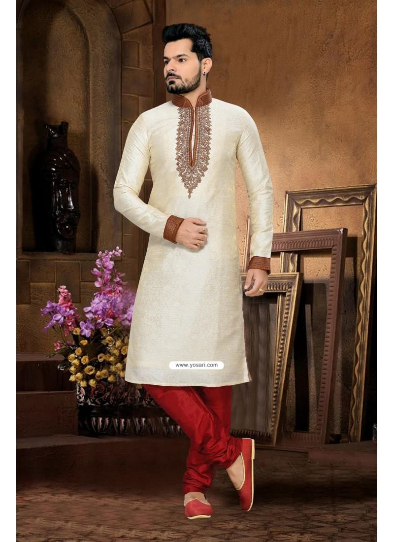 Buy Cream Art Silk Punjabi Kurta Pajama For Men   Kurta Pajama