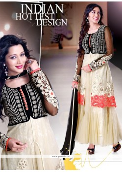 Blooming Cream Net Anarkali Suit