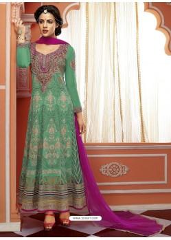 Sea Green Georgette And Net Anarkali Suit