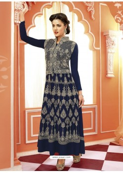 Navy Blue Georgette And Net Anarkali Suit