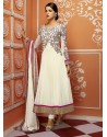 Off White Embroidery Work Net Anarkali Suit