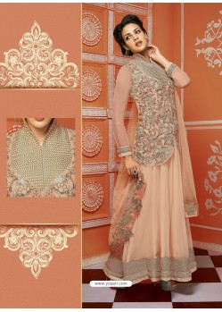 Peach Georgette And Net Designer Suit