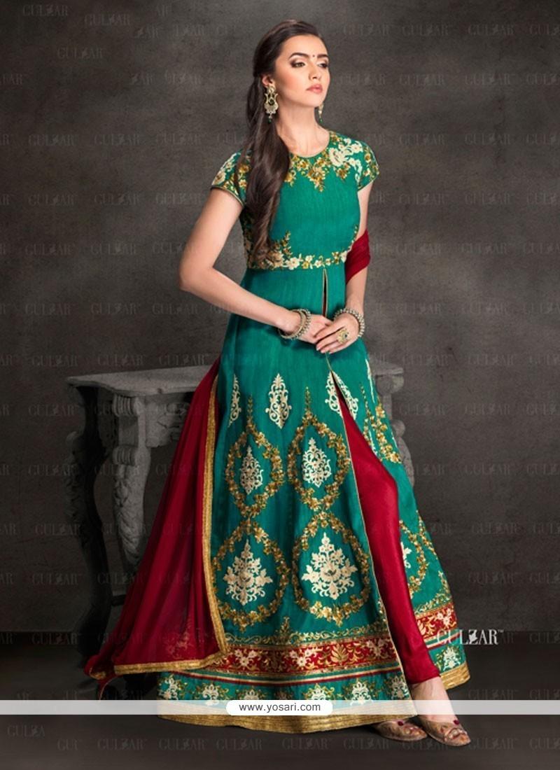 967fe337b Buy Capricious Silk Embroidered Work Designer Salwar Suit