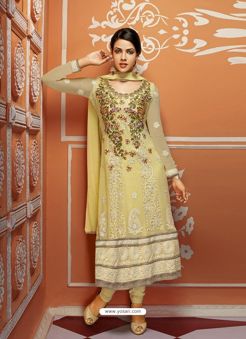Yellow Net And Georgette Anarkali Suit