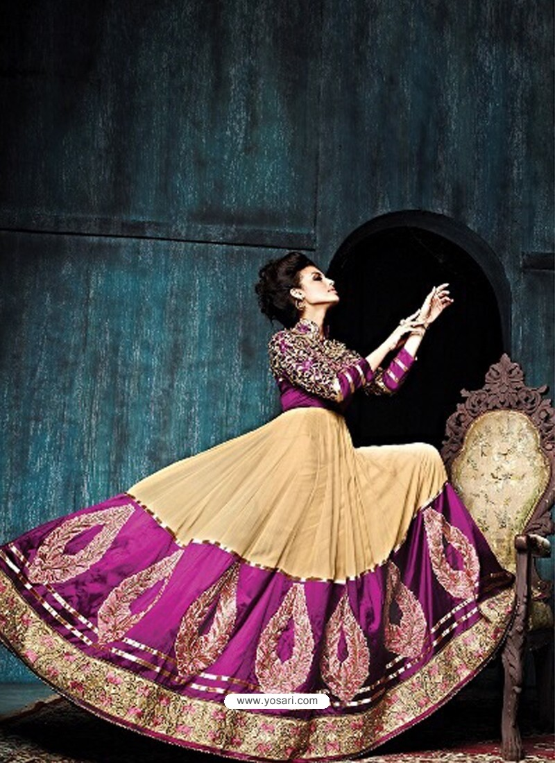 Cream And Purple Georgette Anarkali Suit