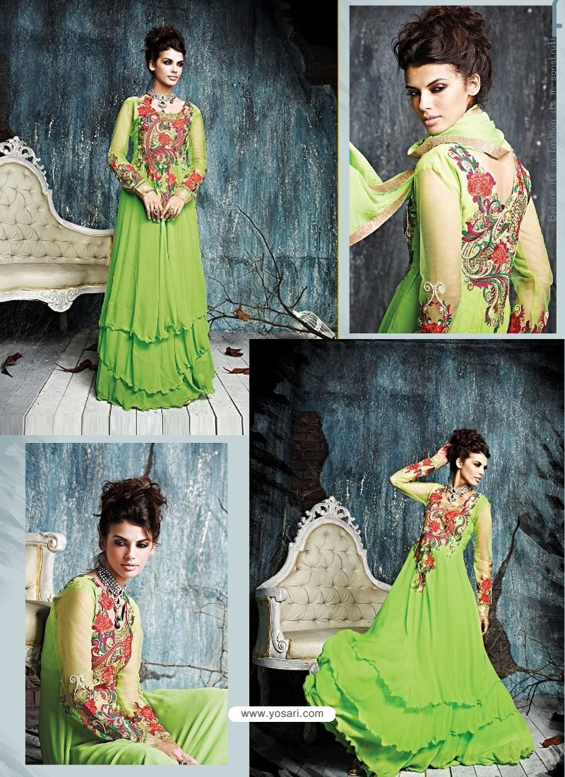 Fabulose Green Georgette Anarkali Suit