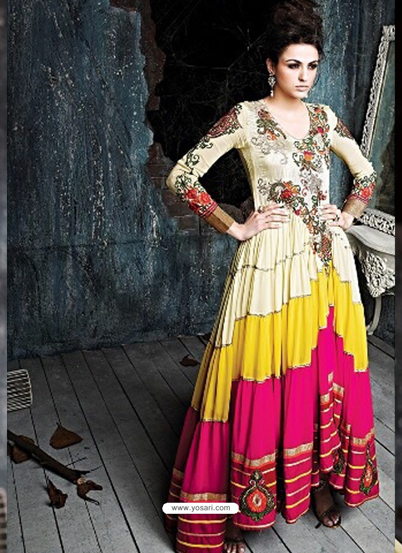 Multicolor Georgette Anarkali Salwar Kameez