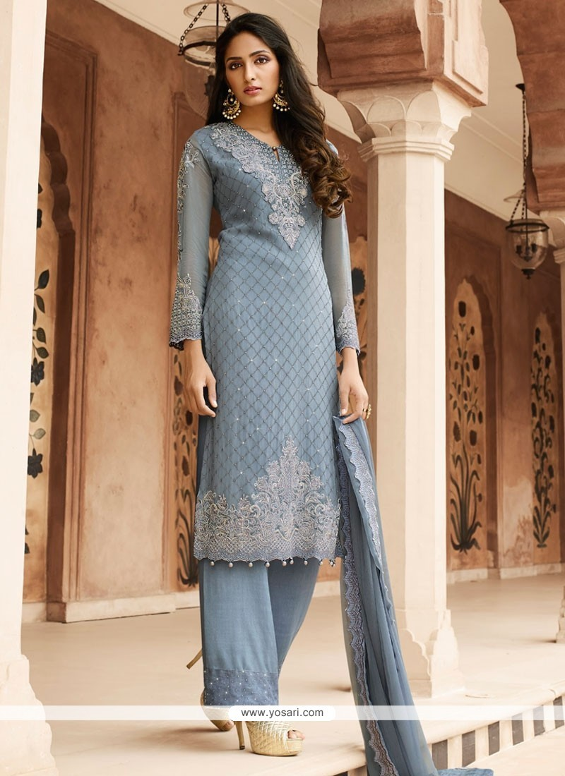 9fb676675 Buy Delightful Embroidered Work Grey Designer Pakistani Salwar Suit ...