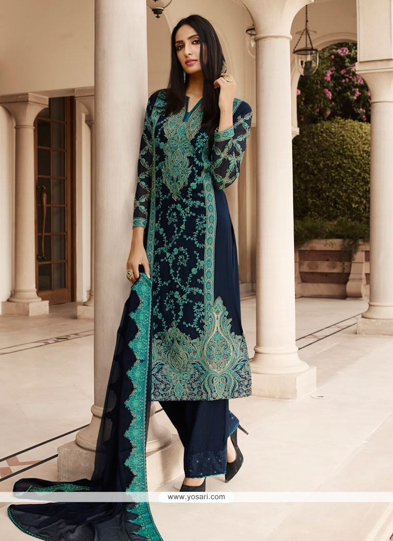 d954f15981 Buy Blooming Navy Blue Designer Pakistani Salwar Suit | Pakistani Suits