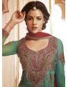 Magenta Georgette And Net Churidar Suit