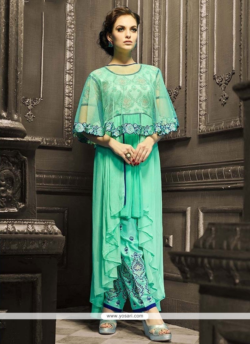 Buy Ruritanian Georgette Sea Green Pant Style Suit | Wedding Suits