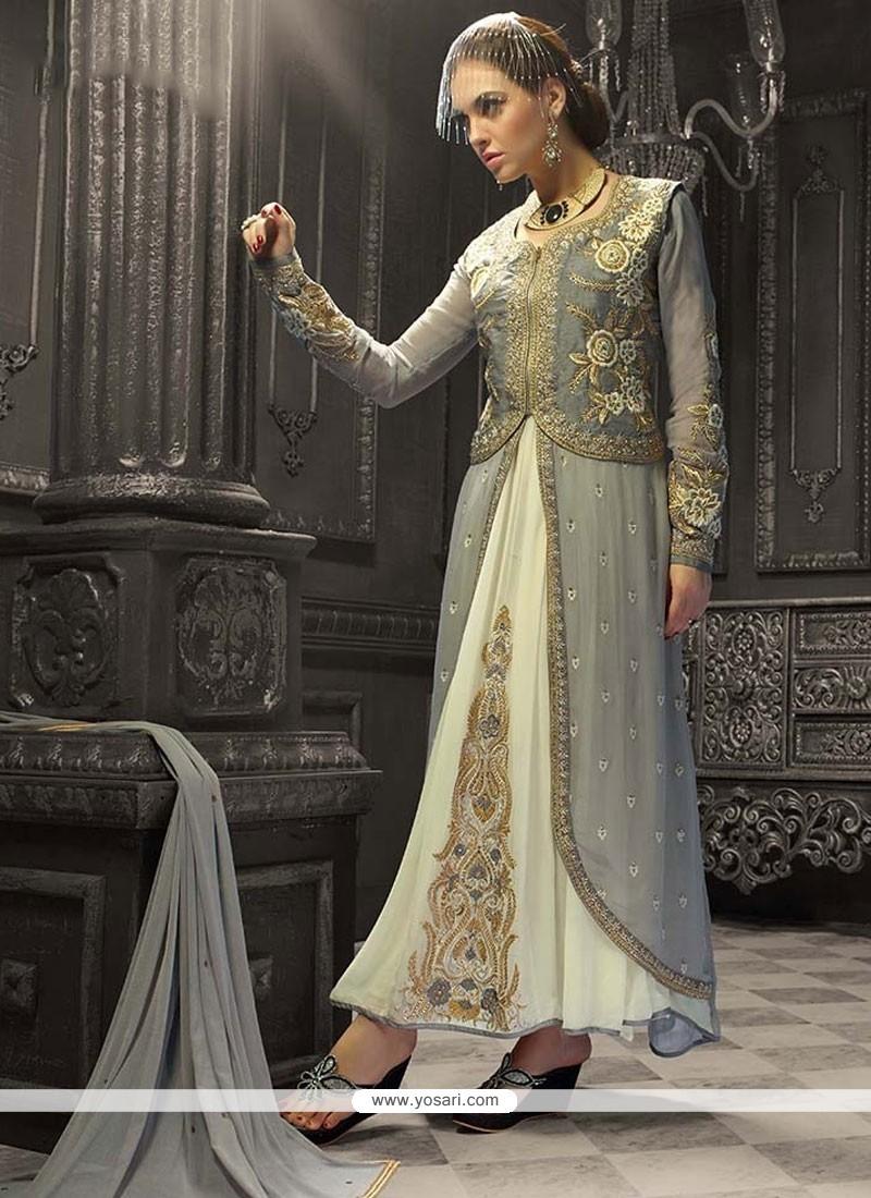 Buy Grey Banglori Silk Jacket Style Salwar Suit | Wedding Suits
