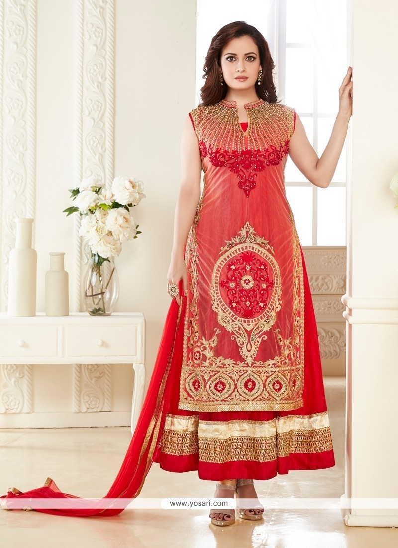 aac7c66b5c Buy Diya Mirza Georgette Embroidered Work Red Anarkali Salwar Kameez ...