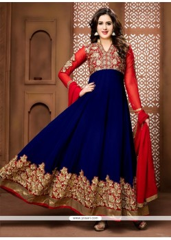 Perfect Navy Blue Anarkali Salwar Suit