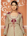 Beige Net And Georgette Anarkali Suit