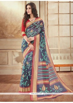 Gorgonize Silk Navy Blue Printed Saree