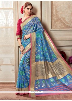 Integral Silk Blue Printed Saree