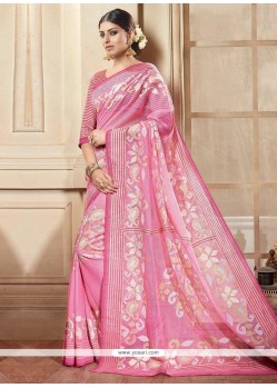 Blissful Pink Printed Saree